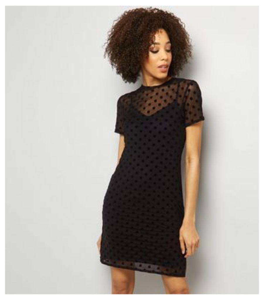 Black Spot Print Mesh Dress