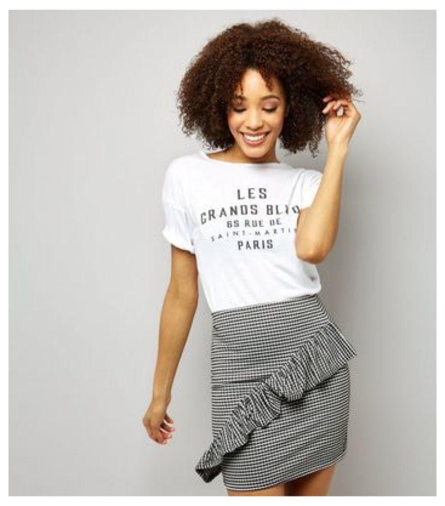 Black Gingham Frill Trim Mini Skirt