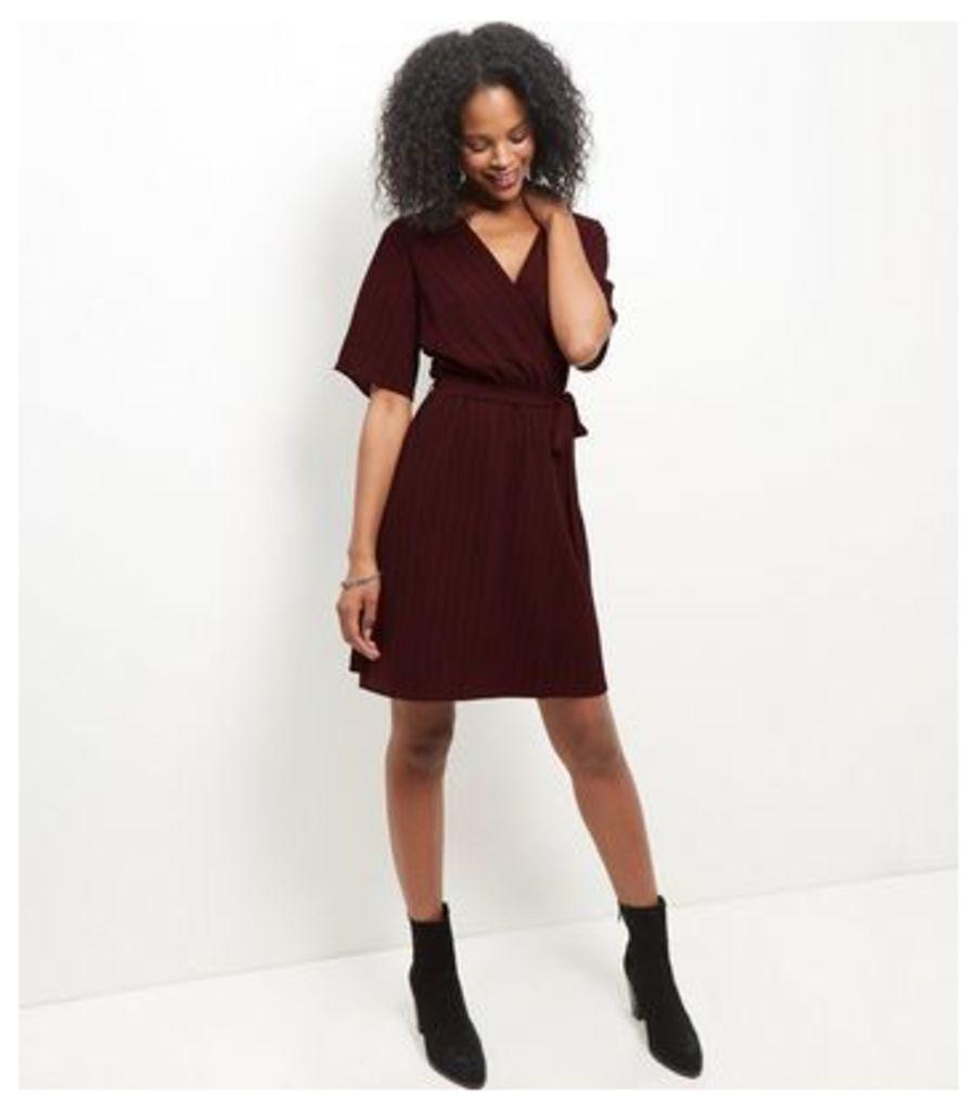 Red Stripe Wrap Front Dress