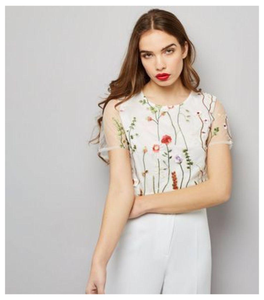Parisian White Floral Mesh Crop Top