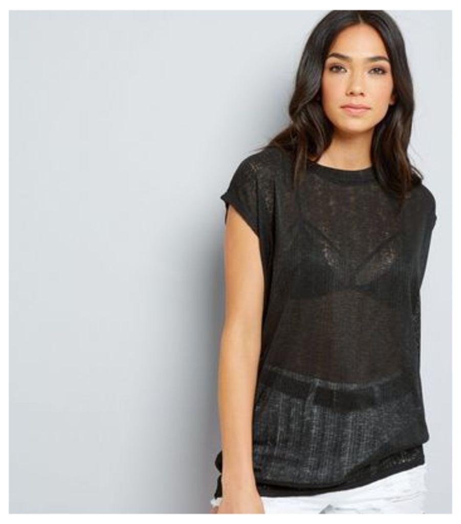 Black Textured Longline T-Shirt