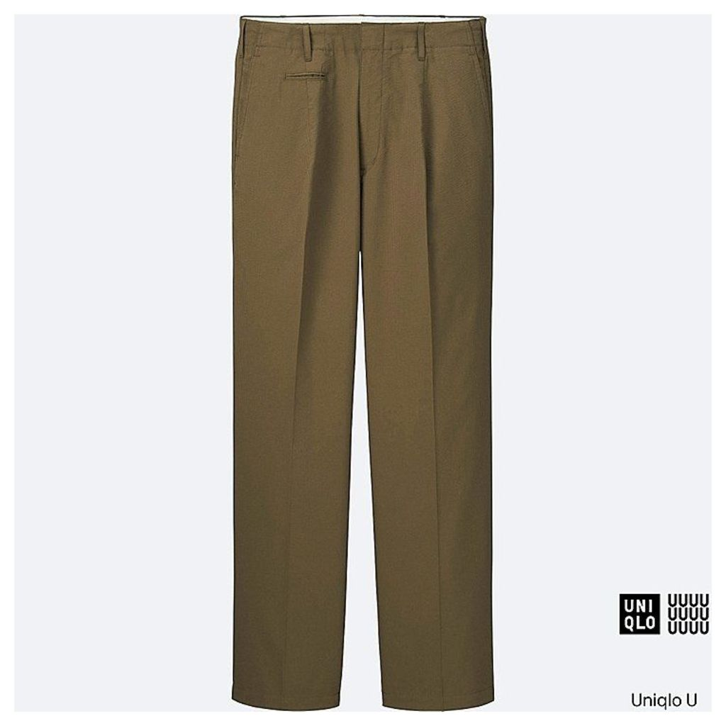 Uniqlo  Men Uniqlo U Oversized Seersucker Wide Trousers - Khaki - 33inch