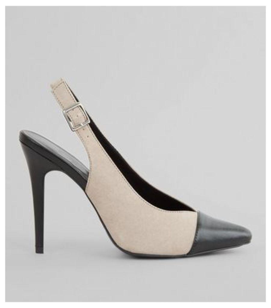 Grey Contrast Toe Cap Sling Back Pointed Heels