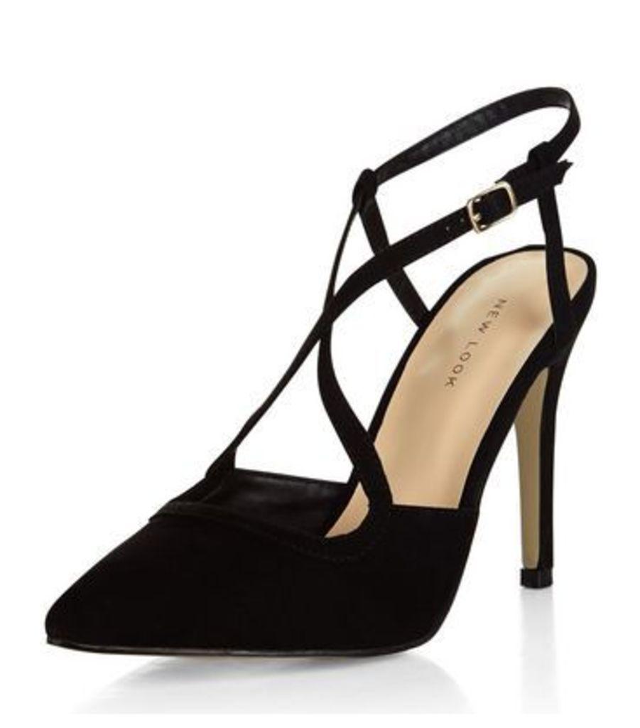 Black Suedette Cross Strap Pointed Heels