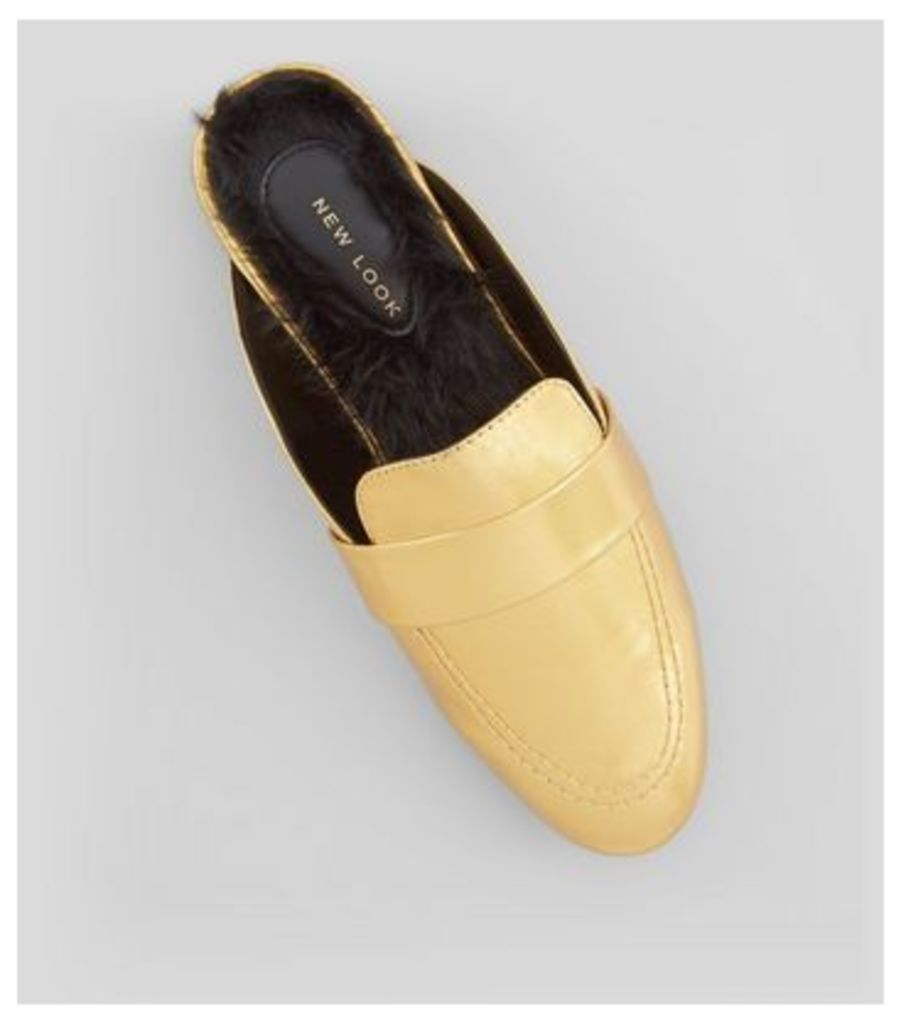 Gold Faux Fur Lined Mules