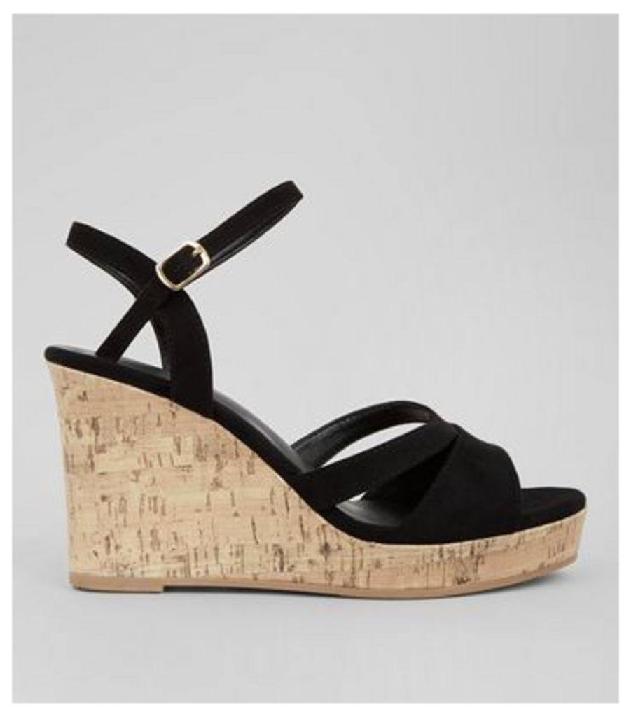 Wide Fit Black Suedette Cork Wedge Heels