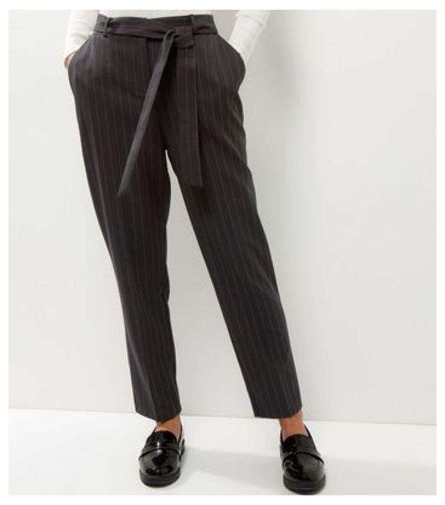 Light Grey Stripe Tie Waist Trousers