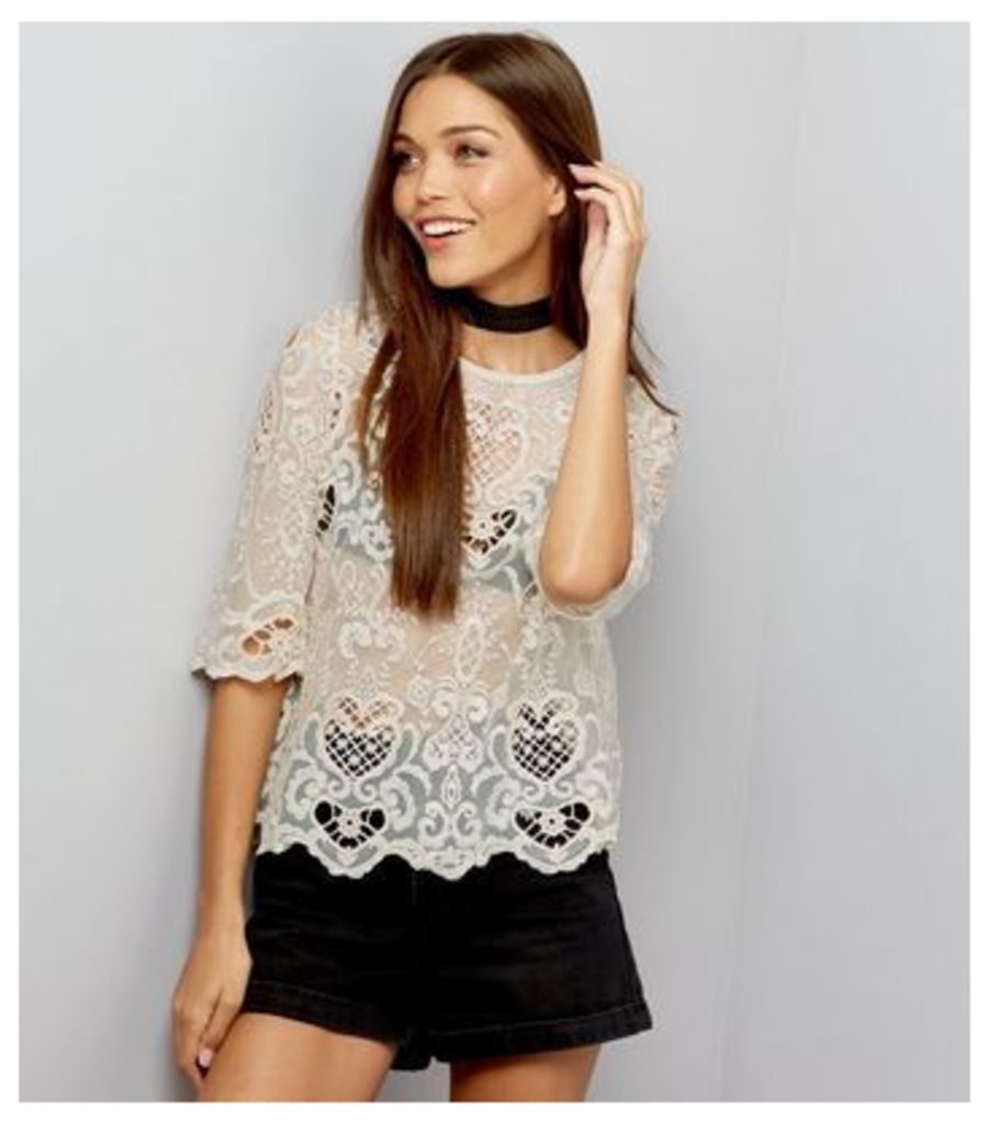 Cream Mesh Embroidered Cut Out Top