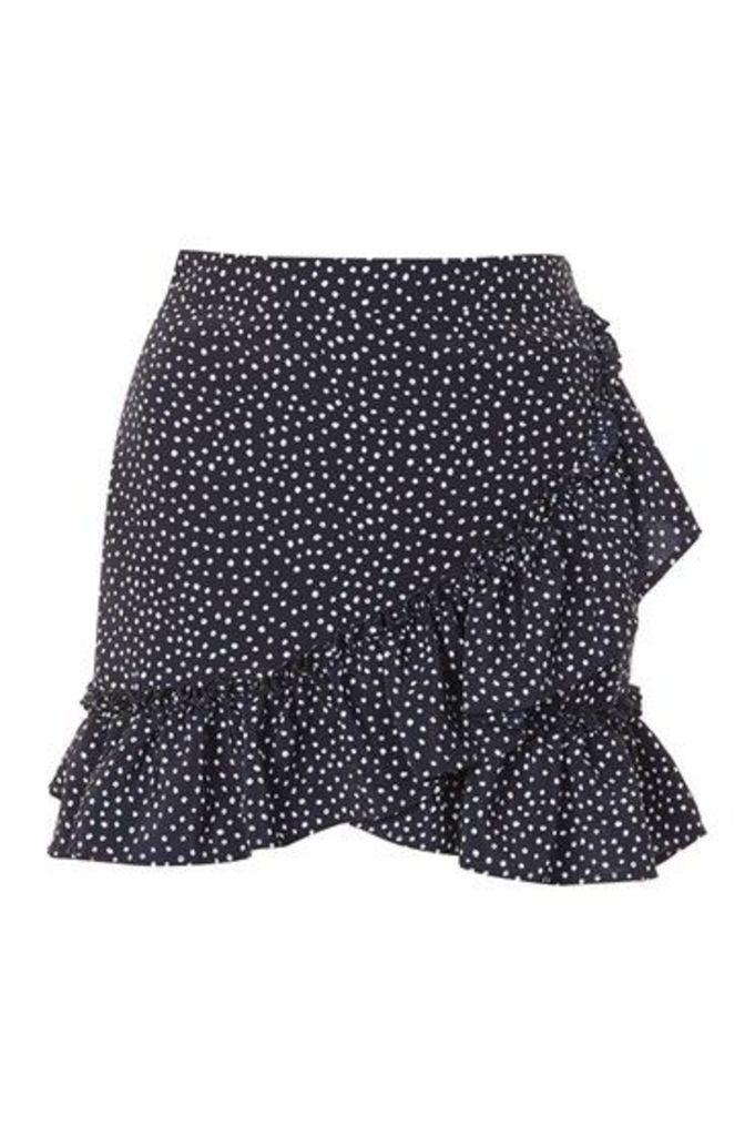 Womens Polka Dot Frill Mini Skirt - Navy Blue, Navy Blue