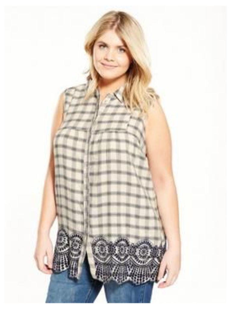 So Fabulous Brodie Trim Sleeveless Checked Shirt