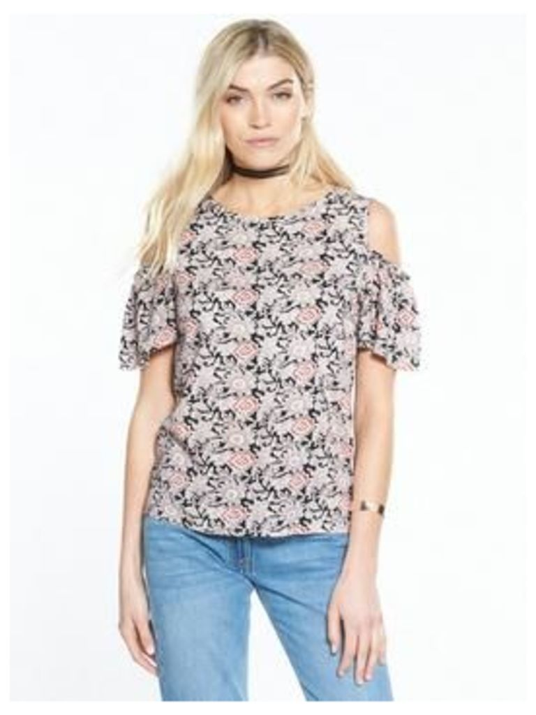 V By Very Cold Shoulder Printed Viscose Top