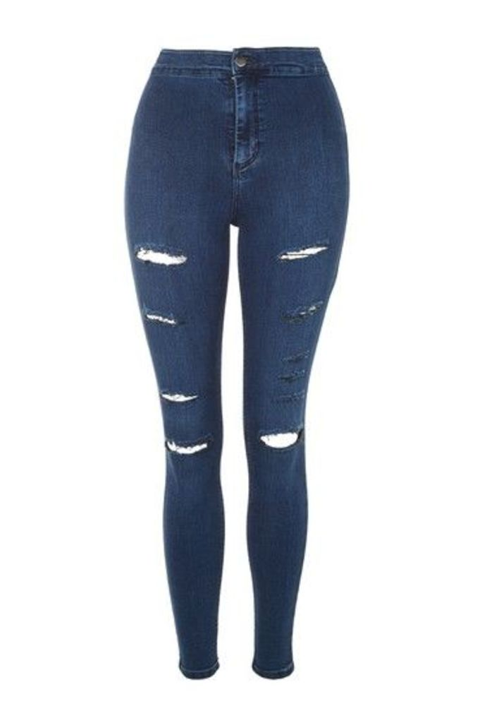 Womens MOTO Indigo Super Rip Joni Jeans - Blue, Blue