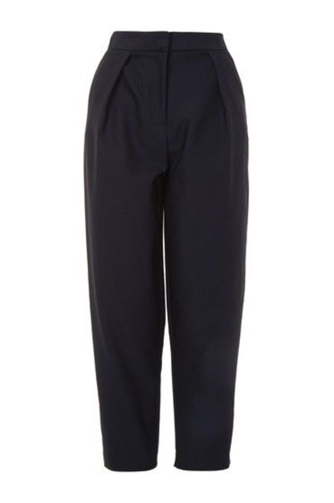Womens Poplin Waist Peg Trousers - Navy Blue, Navy Blue