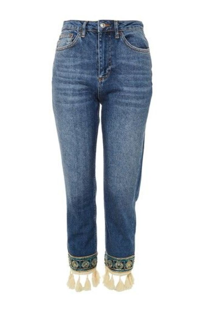 Womens MOTO Applique Straight Leg Jeans - Mid Stone, Mid Stone