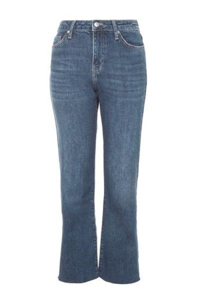 Womens MOTO Dree Cropped Kick Flare Jeans - Blue, Blue