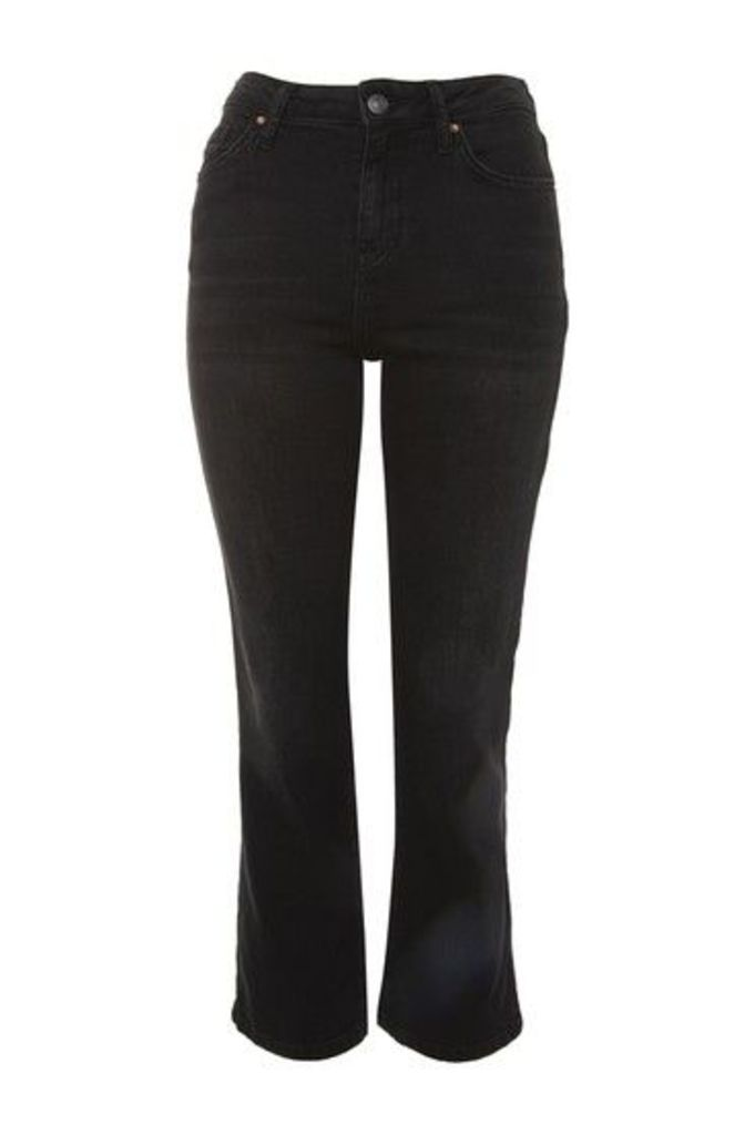 Womens MOTO Dree Cropped Kick Flare Jeans - Washed Black, Washed Black