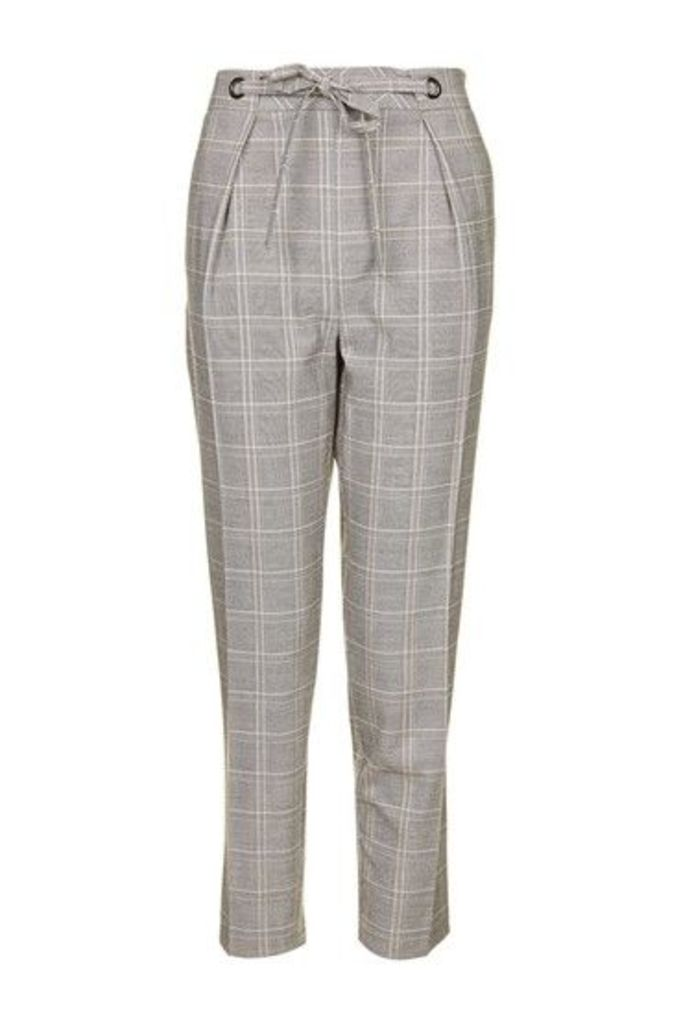 Womens TALL Check Eyelet Peg Trousers - Grey, Grey