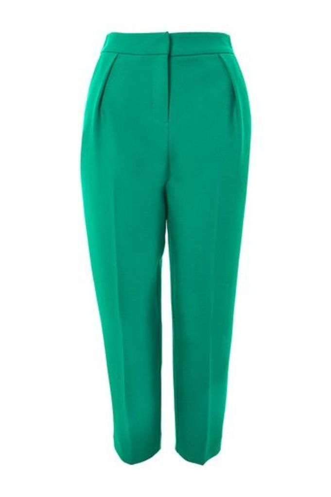 Womens PETITE Structured Clean Peg Trousers - Green, Green