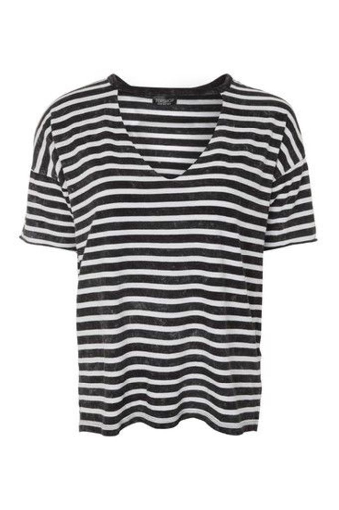 Womens Choker Acid Stripe T-Shirt - Charcoal, Charcoal