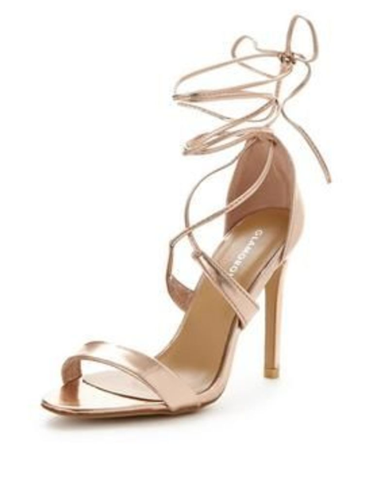 Glamorous rose gold tie up sandal, Rose Gold, Size 5, Women
