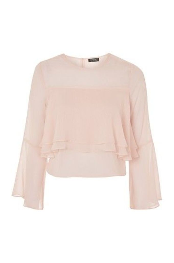 Womens Flute Crinkle Sleeve Blouse - Blush, Blush