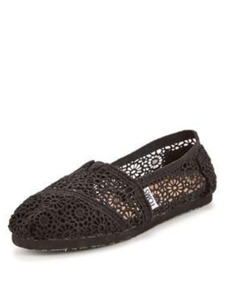 Toms Alpargata Black Crochet Espadrille, Black Maroccan Crochet, Size 8, Women