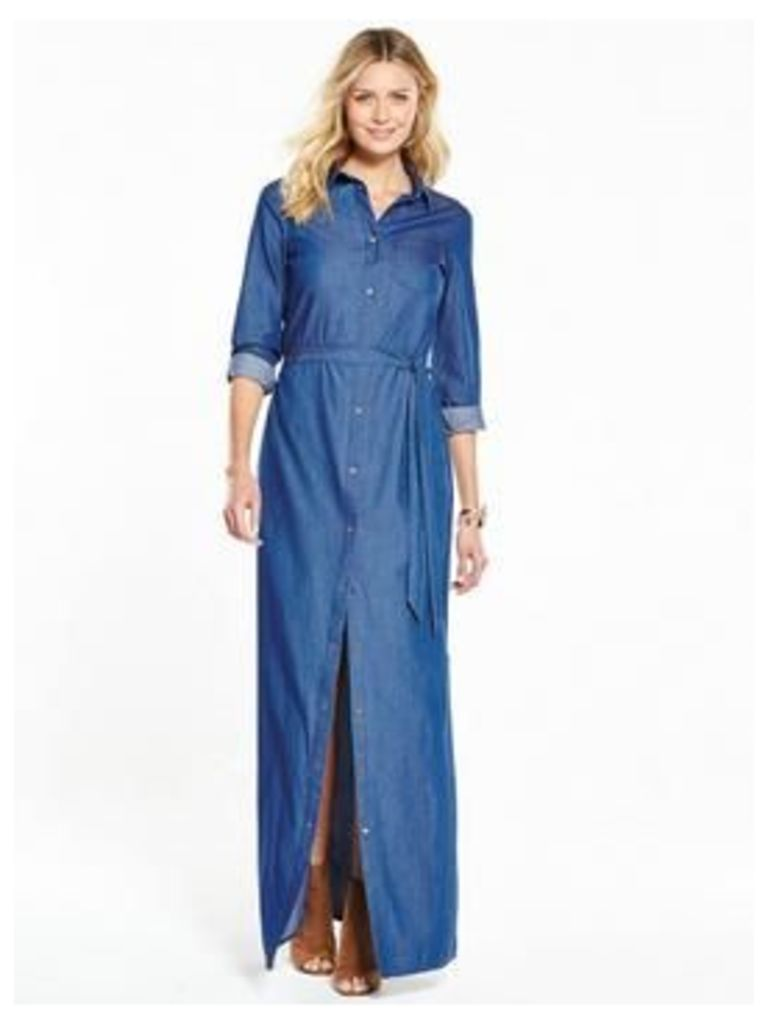 V by Very Denim Longline Shirt Dress, Denim, Size 20, Women