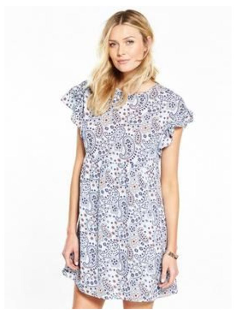 V by Very Ruffle Sleeve Tunic Dress, Print, Size 24, Women