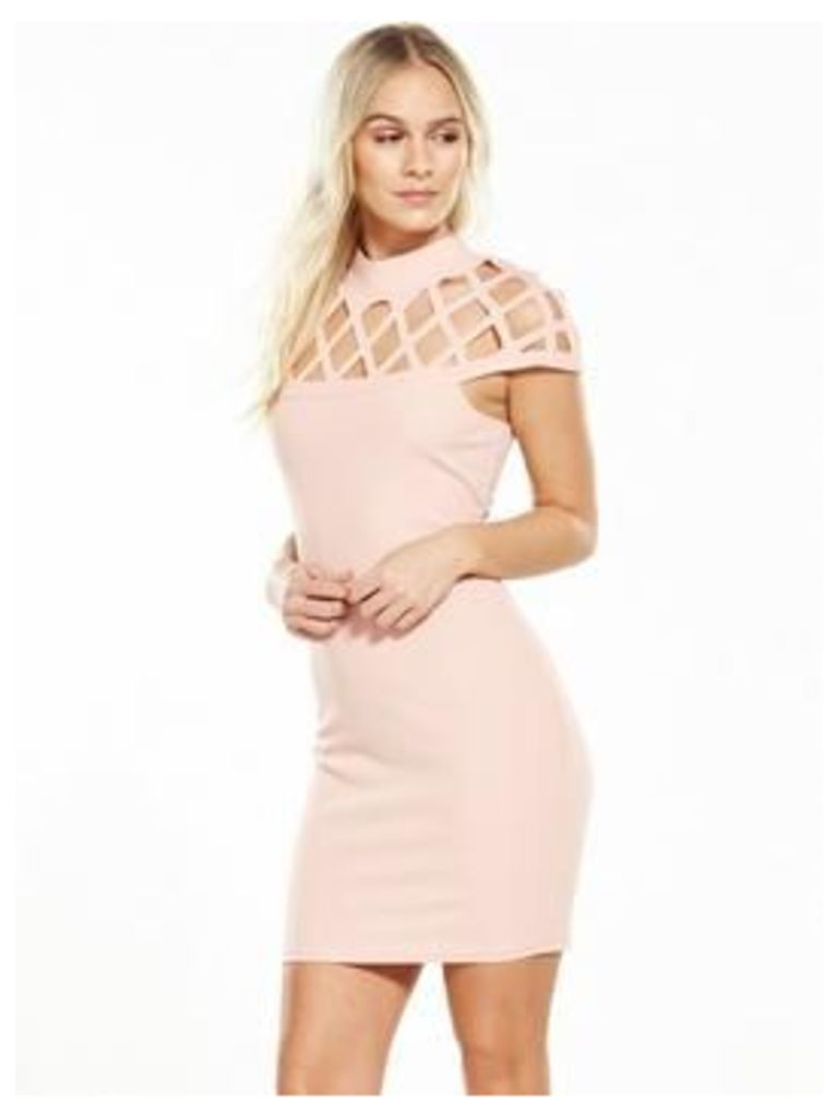 AX Paris PETITE Cage Bodycon Dress - Pink, Pink, Size 16, Women