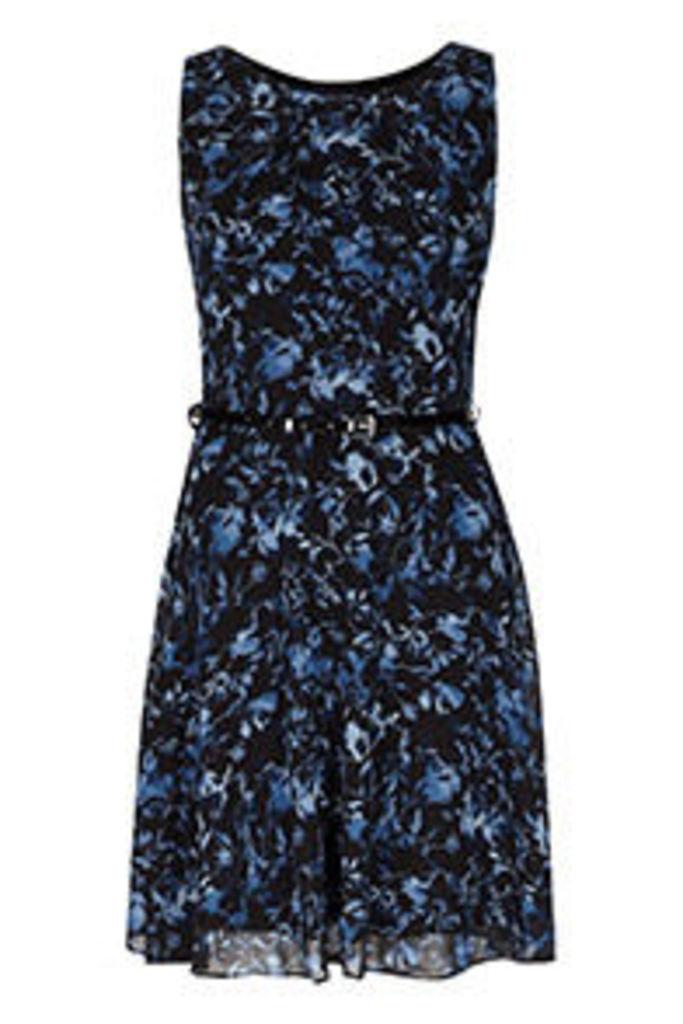 Black Navy & Blue Floral Watercolour Print Structured Dress