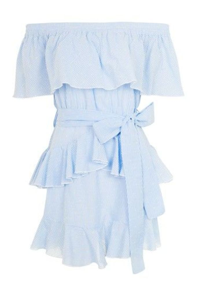 Womens Stripe Frill Bardot Dress - Light Blue, Light Blue