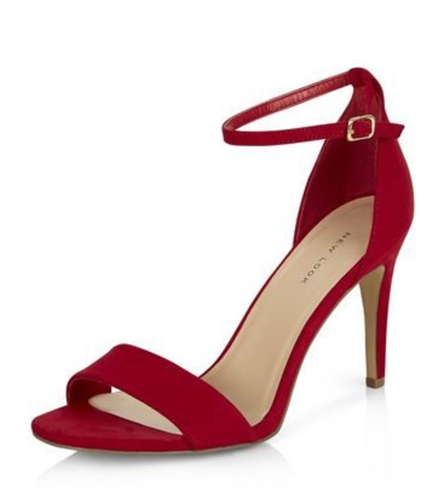 Red Suedette Ankle Strap Heeled Sandals