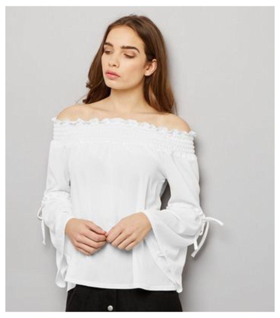 Innocence White Shirred Bardot Neck Tie Sleeve Top