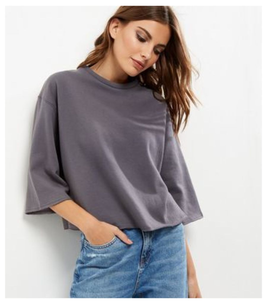 Grey 3/4 Wide Sleeve Cropped Sweater