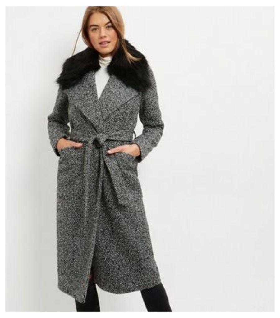 Black Faux Fur Collar Belted Longline Coat