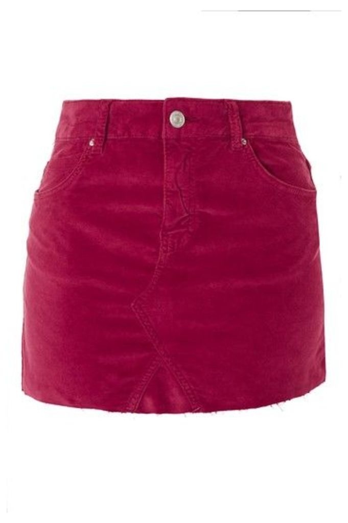Womens MOTO Velvet Mini Skirt - Pink, Pink