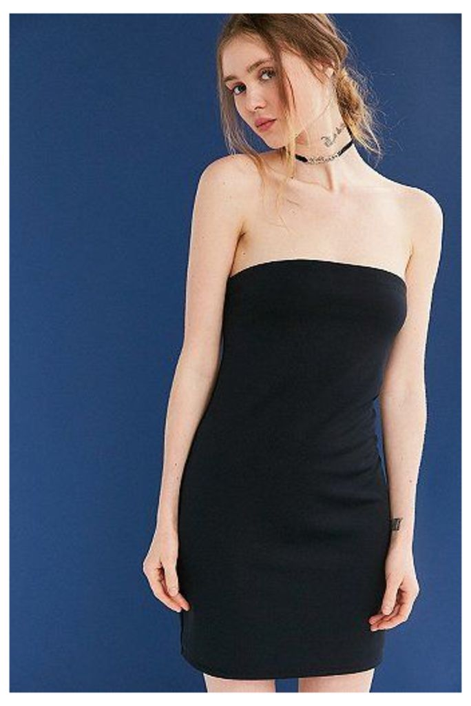 Silence + Noise Tubular Double Layer Ponte Strapless Dress, Black