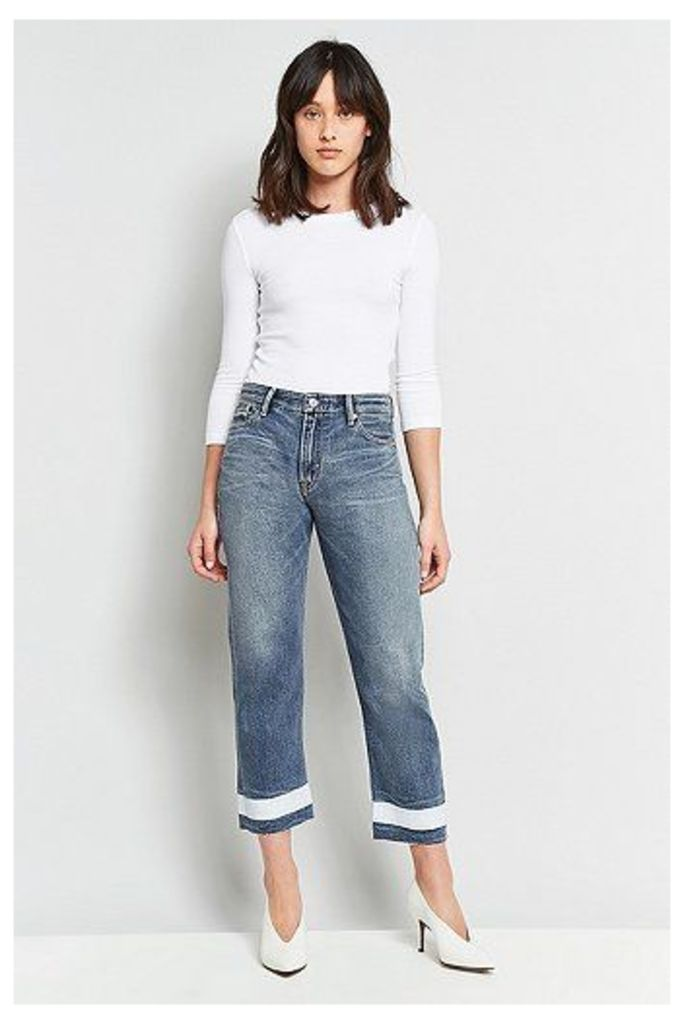 Kings Of Indigo Anne Painted Cropped Jean, Blue