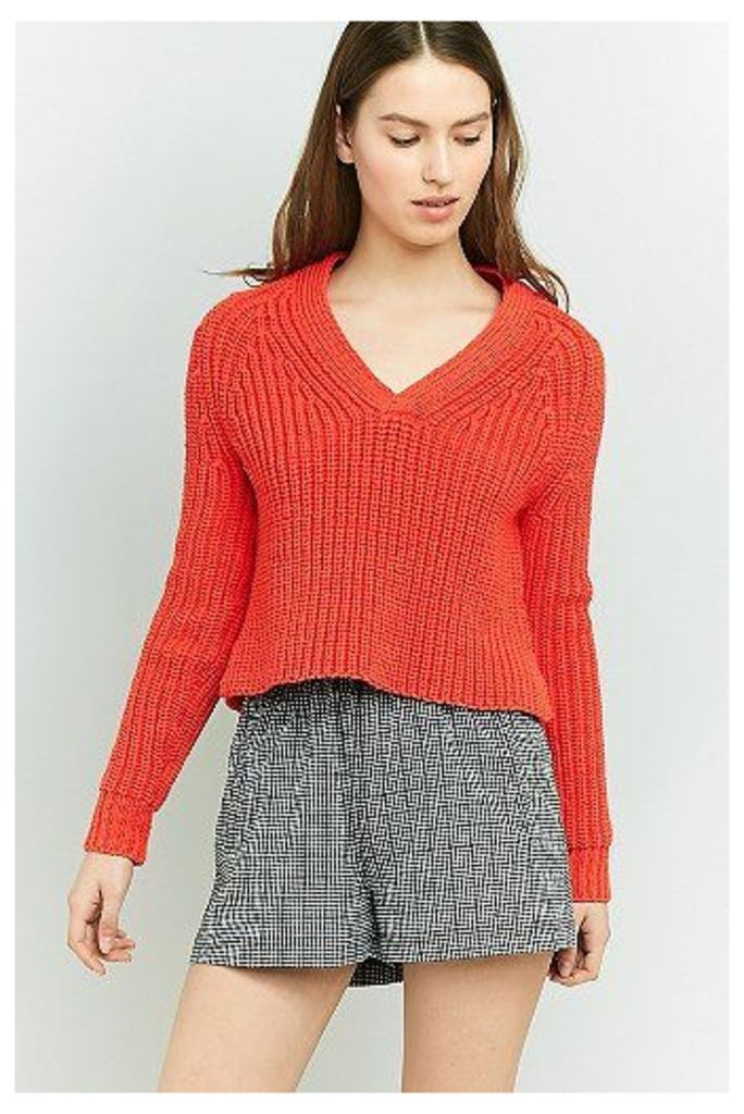 Urban Outfitters Puffy Yarn V-Neck Jumper, Orange