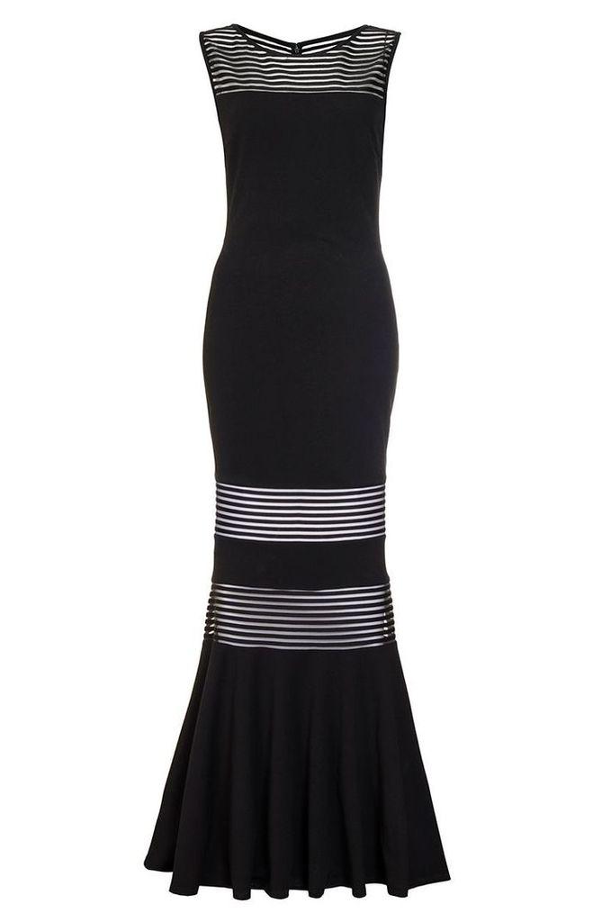 Quiz Black Mesh Insert Fishtail Maxi Dress, Black
