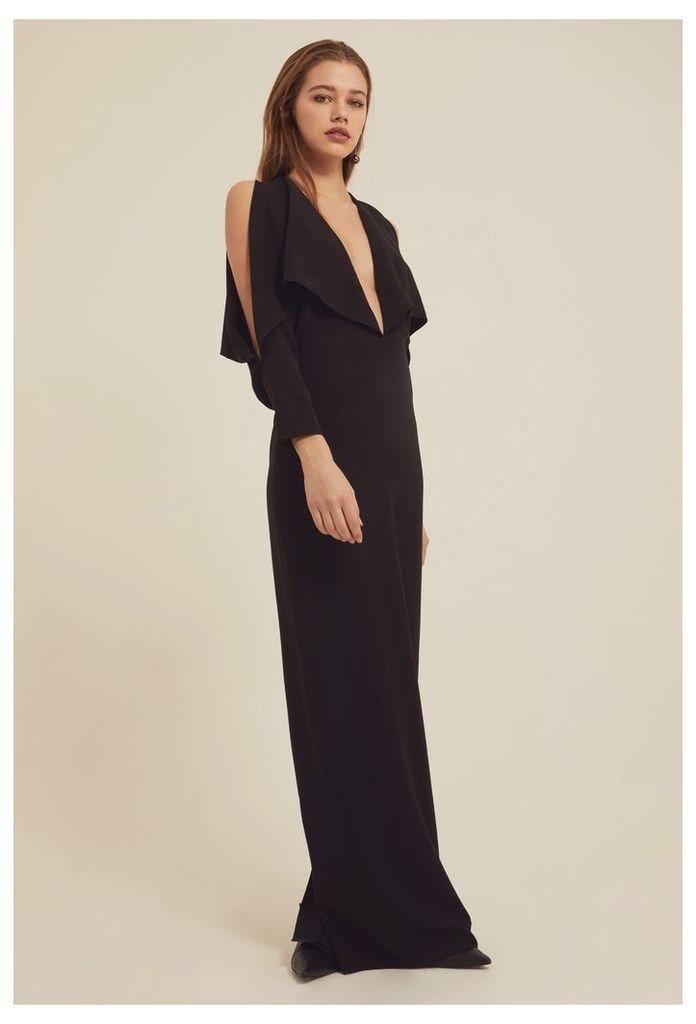 Larissa Deep Plunge Maxi Dress - Black