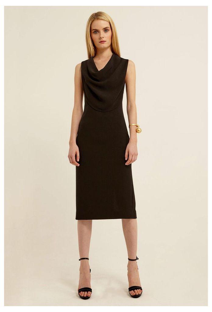 Veronika Cowl Neck Midi Dress - Black