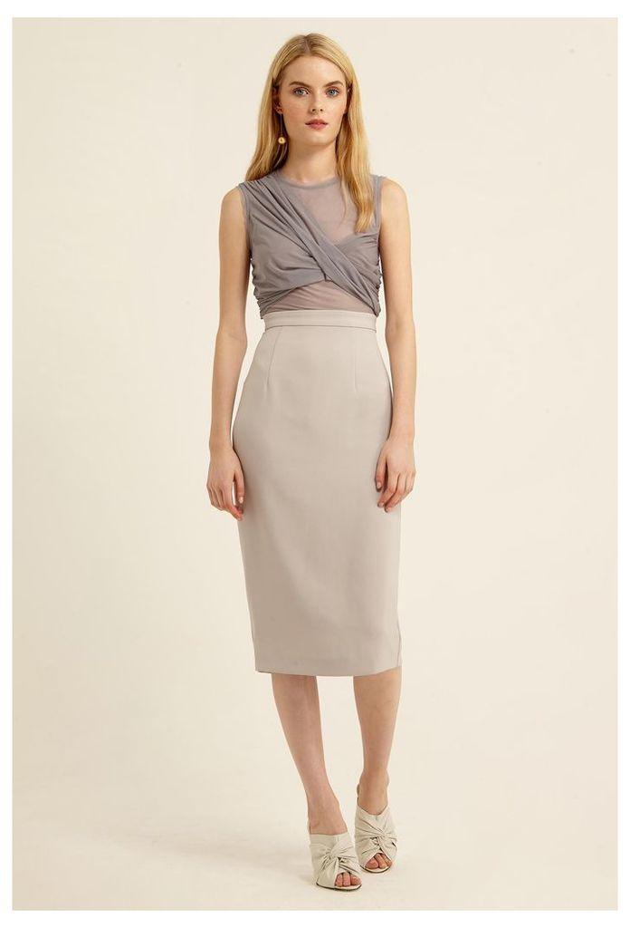 Hallie Sheer Midi Dress - Oyster Grey