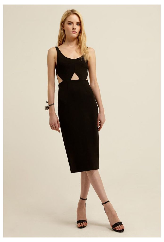 Lute Cut-Out Knee Length Dress - Black