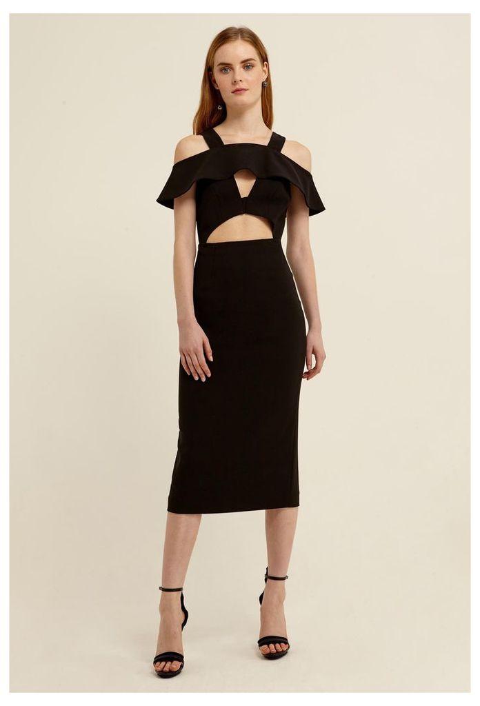 Etira Cold Shoulder Midi Dress - Black