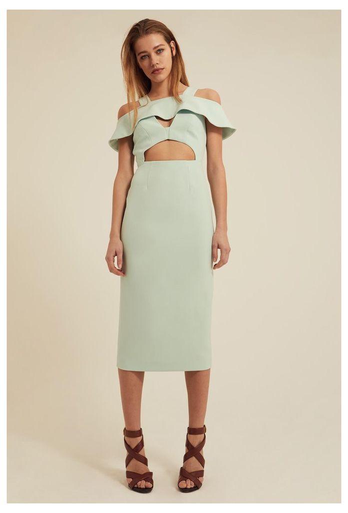 Etira Cold Shoulder Midi Dress - Chalky Mint