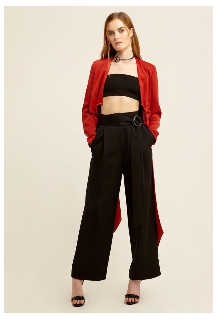 Levia Belted Waist Trousers - Black