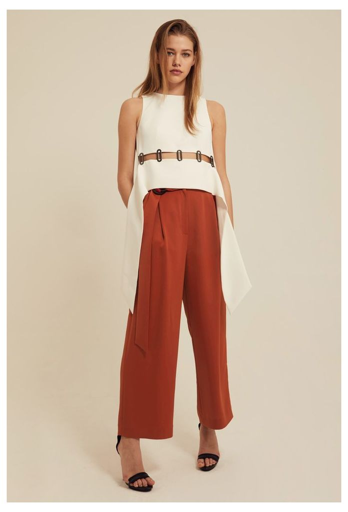 Levia Belted Waist Trousers - Rust