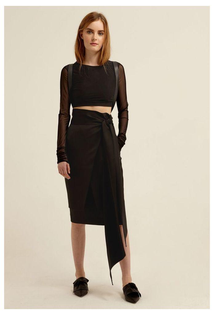 Riley Wrap Midi Skirt - Black