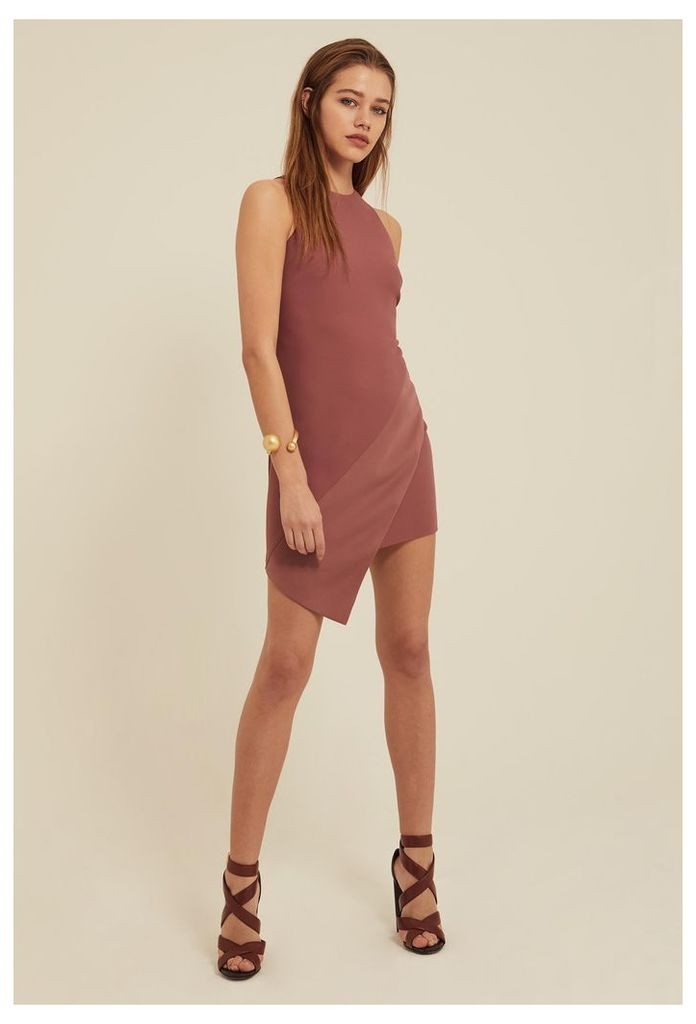 Peyton Aysmmetric Mini Dress - Ash Rose